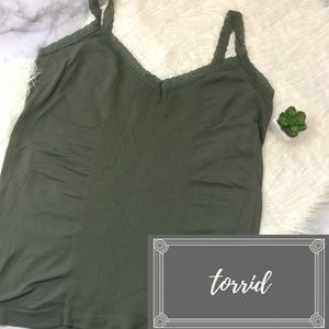Torrid Olive Green Lace Layer Cami Ribbed Tank 3/4